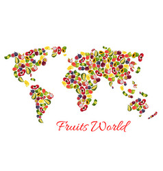 Exotic tropical fruits world map vector