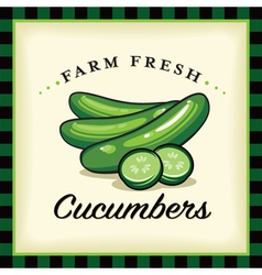 Farm fresh cucumbers vector