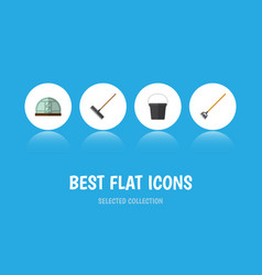Flat icon dacha set of pail harrow tool and vector