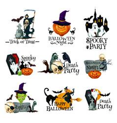halloween holiday symbol of pumpkin ghost and bat vector image vector image