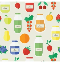 Jam and juice seamless pattern in flat style vector image