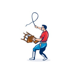Lion tamer with whip and holding a chair vector