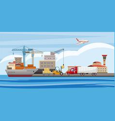 Logistic horizontal banner cartoon style vector