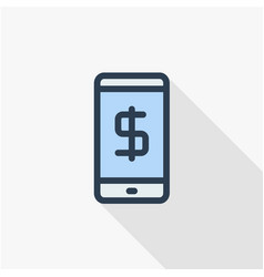 Mobile payment internet banking web pay thin line vector
