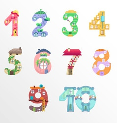 Numbers like fairy houses vector image vector image