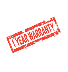 one year warranty sign grunge sticker or badge vector image