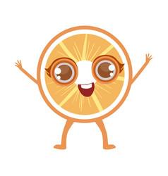 orange slice cute anime humanized cartoon food vector image vector image