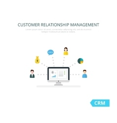 Organization of data on work with clients crm vector
