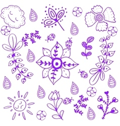 Purple flower of doodle art vector