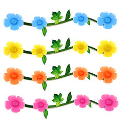 seamless flowers in four colors vector image vector image