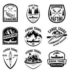 set of canoeing badges isolated on white vector image