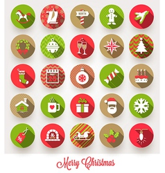 Set of christmas flat icons with long shadows vector