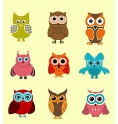 Set of doodle owls vector