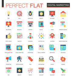Set of flat digital marketing icons vector