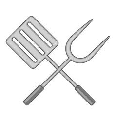 Spatula and barbeque fork icon monochrome vector