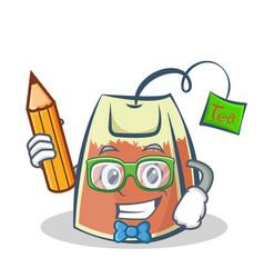 Student tea bag character cartoon with pencil vector