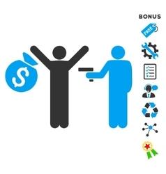 Thief arrest flat icon with bonus vector