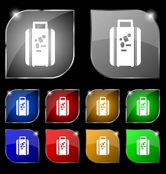 Travel luggage suitcase icon sign set of ten vector