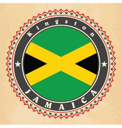 Vintage label cards of jamaica flag vector