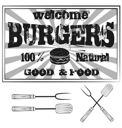 Vintage Metal Sign - Try Our Home style Hamburgers vector image