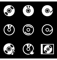 white cd icon set vector image