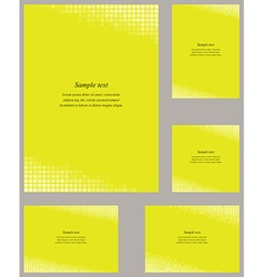 Yellow mosaic page corner design template set vector image