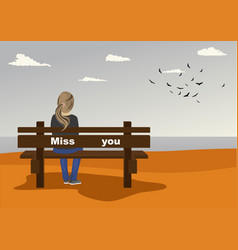 Young woman sitting on bench on seashore vector