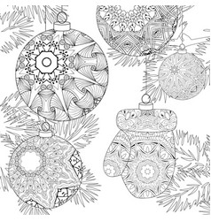 Zentangle stylized christmas decorations with vector