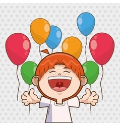 Kid boy balloons happy birthday design vector
