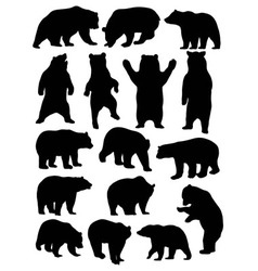 Wild animal bear silhouette set vector