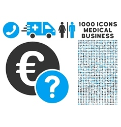 Euro status icon with 1000 medical business vector