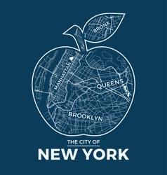 New york t shirt design big apple with city map vector