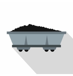 Coal trolley icon flat style vector