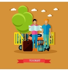 tourists with baggage after vector image