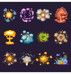 Comic explosions decorative icons set vector