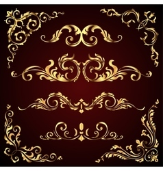Victorian set of golden ornate page decor vector