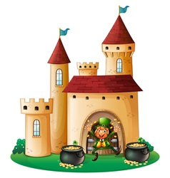 A man in front of a castle with two pots of gold vector