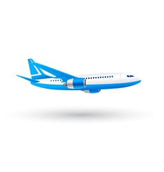 White and blue airplane icon vector