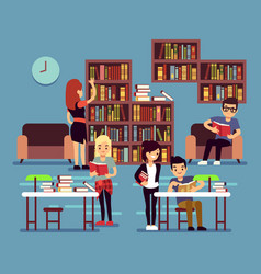 Studying students in library interior with books vector