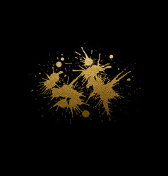 Abstract golden texture blots on the black vector