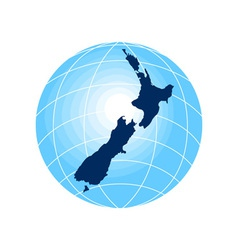 map of New Zealand with globe in background vector image