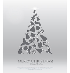 Abstract christmas card with engraving icons vector