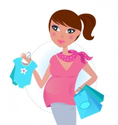 Pregnant mom shopping vector
