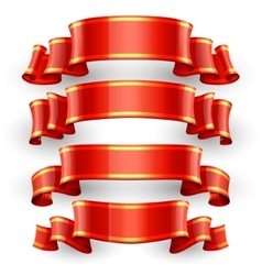 Red glossy ribbons with a yellow stripe vector