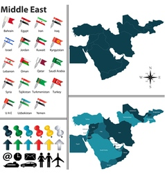 Political map of Middle East with regions vector image