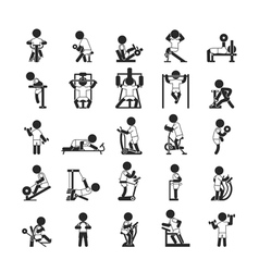 Set of fitness gym  human pictogram icons vector