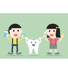 Boy and girl with healthy teeth vector