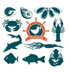 Animals on seafood vector
