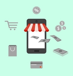 Online shopping digital marketing mobile smart pho vector