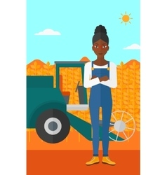 Woman standing with combine on background vector